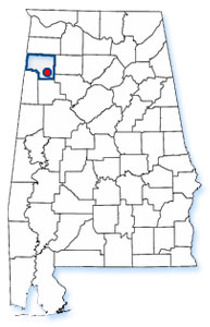 Alabama State Map with Town of Brilliant Highlighted