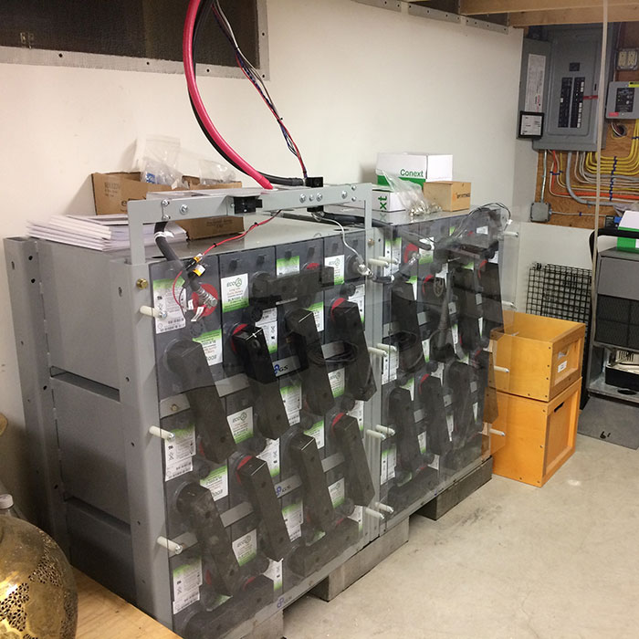 50kwh AGM battery bank in hybrid system.