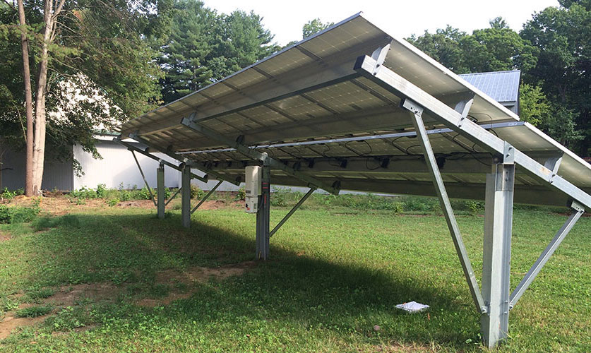 Commercial ground-mounted solar array system.