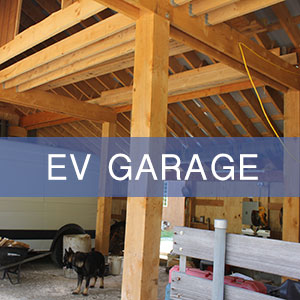 A solar powered garage that houses and charges your electric vehicle (EV).
