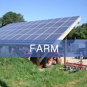 Tractor storage underneath a pole-mounted farm solar installation.