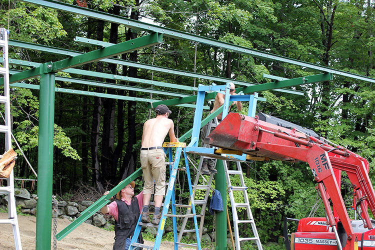 Installing the framework for pole-mounted array.