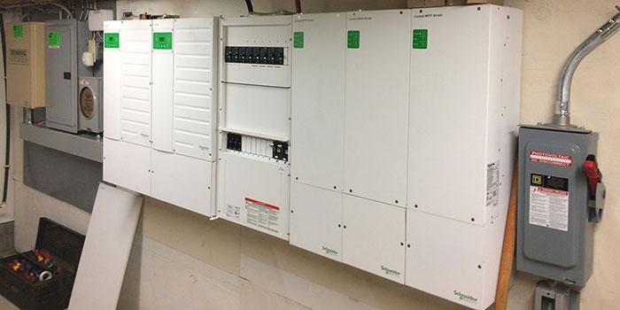 Installed Schneider dual inverter system.
