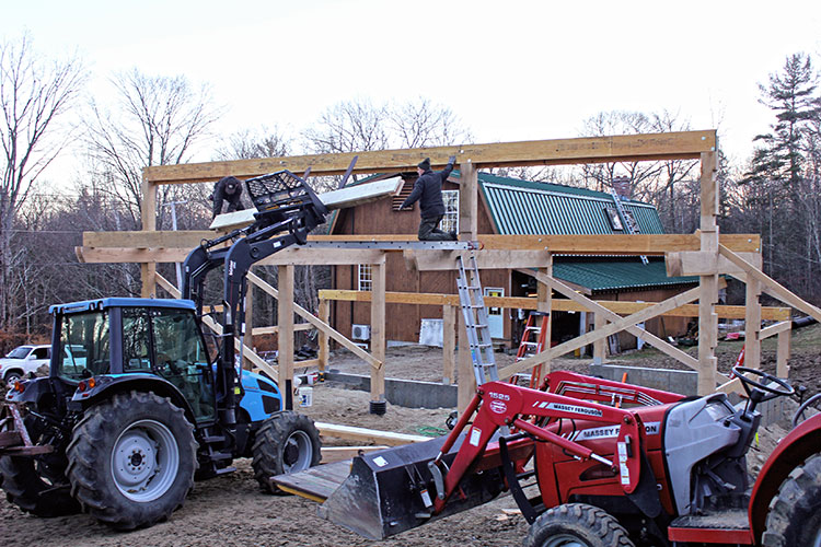 Timber frame barn-raising is complete.