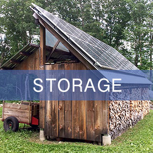 A purposefully designed and constructed woodshed or storage structure also provides a great location for PV (photovoltaic) panels.