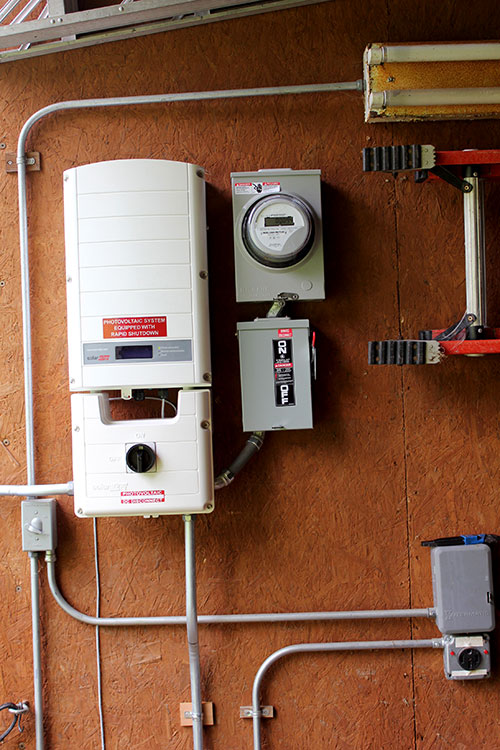 An installed SolarEdge inverter.
