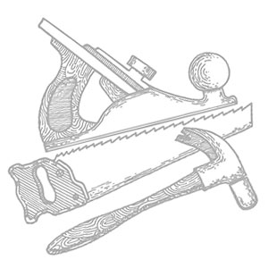 Illustration of carpenter's tools.