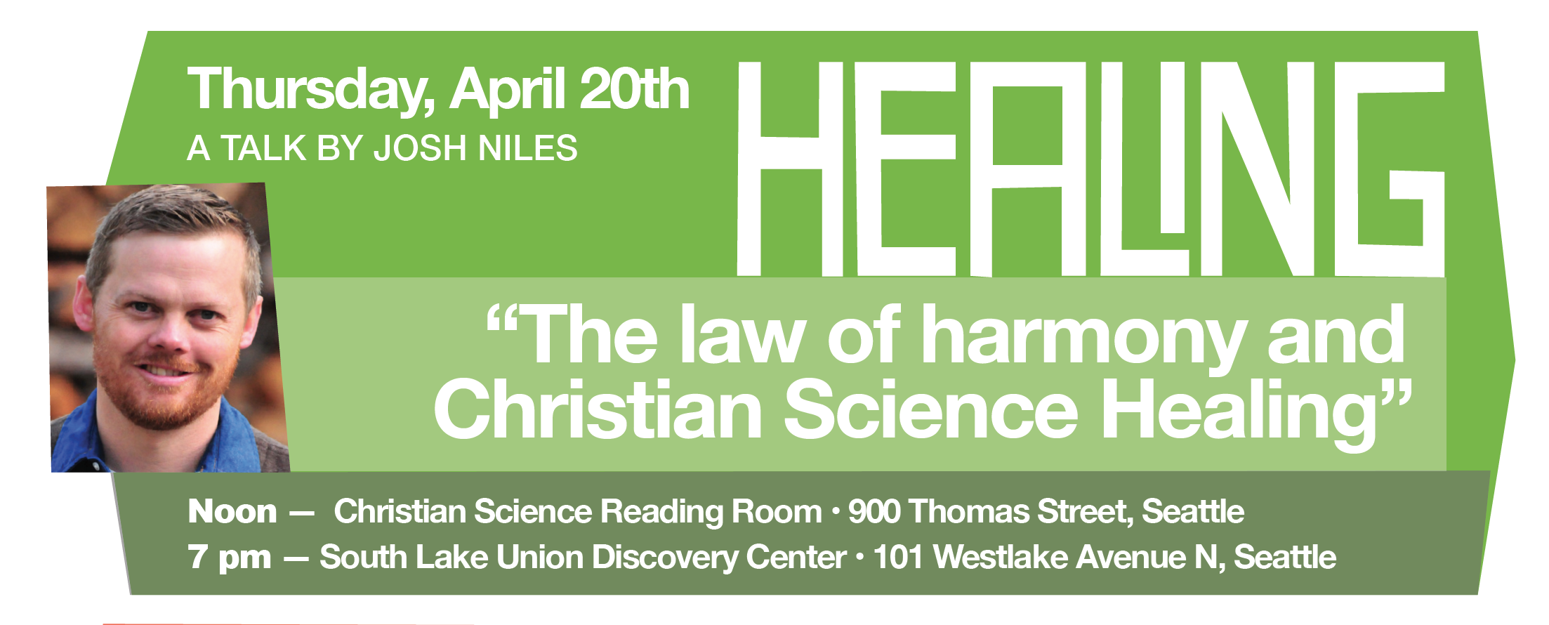 "Lecture: ""The law of harmony and Christian Science Healing"""
