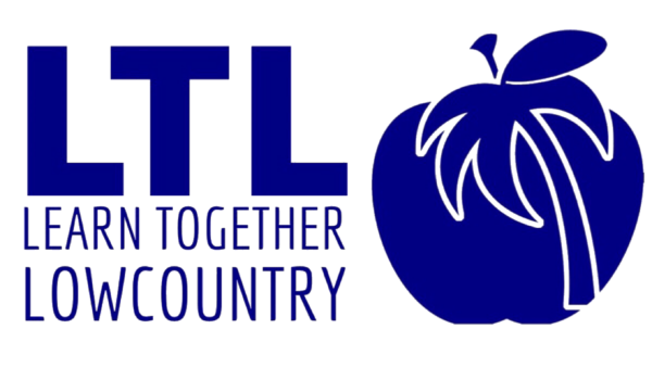 Learn Together Lowcountry's logo is an apple with a palm tree as the stem for this co-op in Bluffton SC