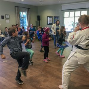 Kids follow directions in their karate weekly wow workshop at Learn Together Lowcountry homeschool co-op in Bluffton SC