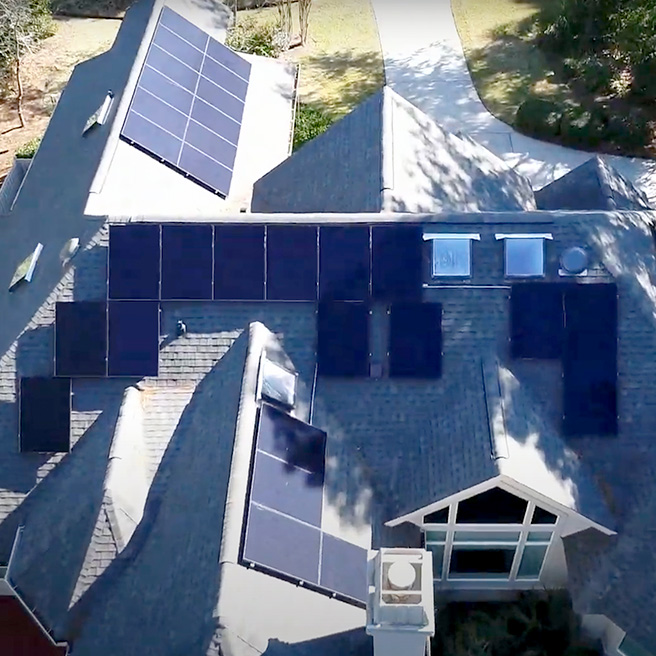 Residential house with solar panels