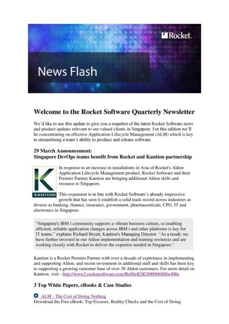 Rocket promotes Kantion in Asia newsletter