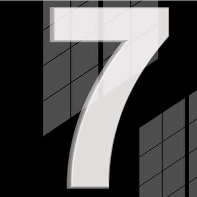 A large, white number seven is in front of a black background with window-like shadows behind it.