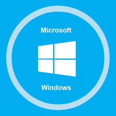The Microsoft windows logo sits in the center of a blue background with a white circle around it