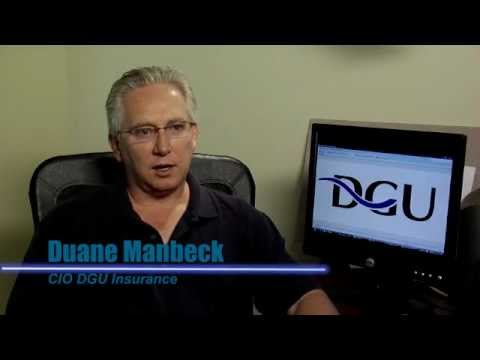 Video Image: Man sitting at desk, DGU Insurance logo displayed on computer