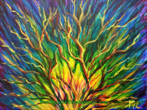 Prophetic Art, burning bush, colorful, tree, painting