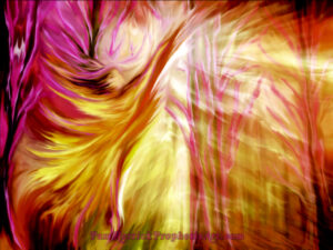 Prophetic Art, angel, God's glory, rays of gold, woman, heaven