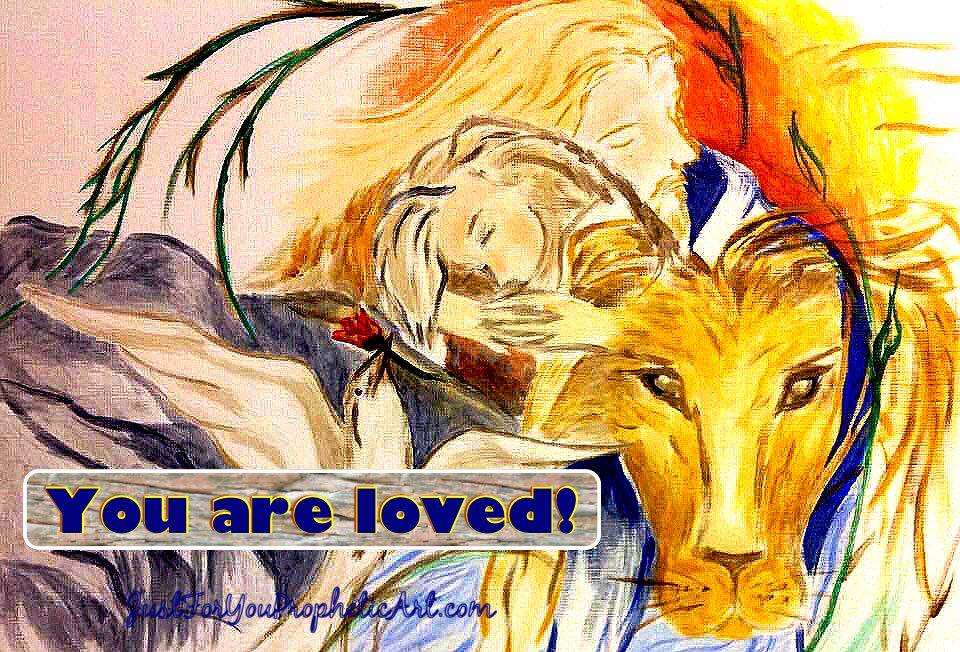 Jesus, hugging, girl, Lion of Judah, Holy Spirit, dove, river, Sunset, tree branch, Prophetic Art, painting