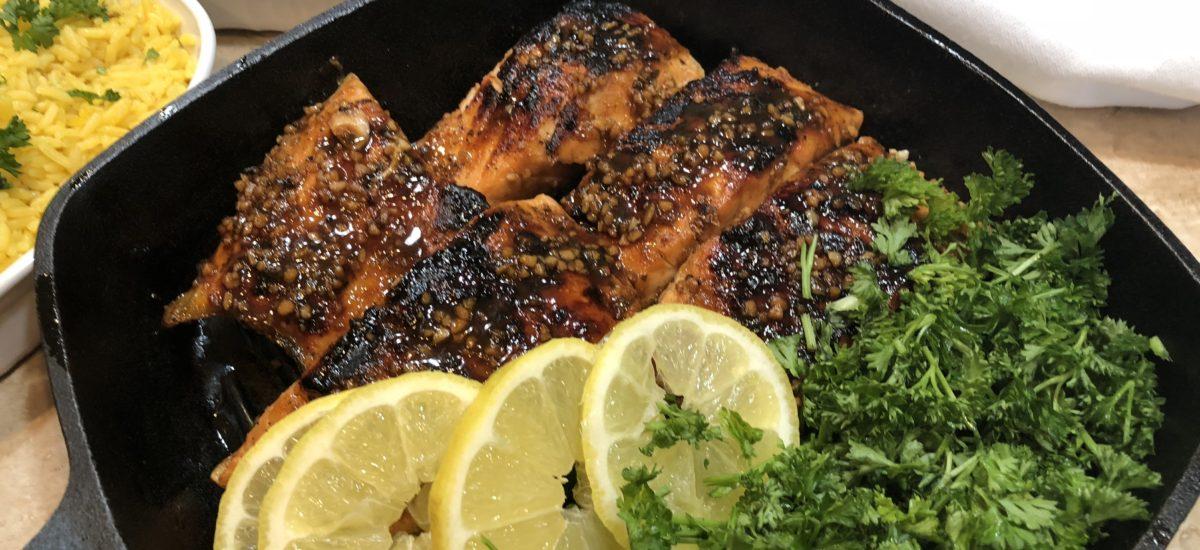 Citrus and Black Strap Molasses Glazed Salmon