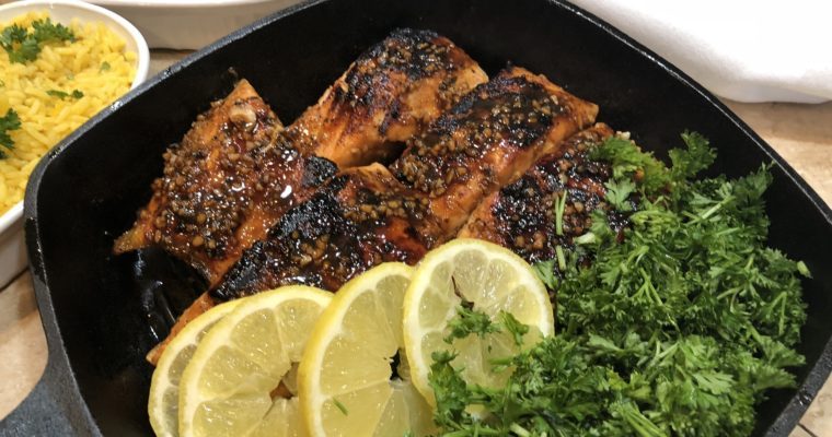 Citrus and Black Strap Molasses Glazed Salmon