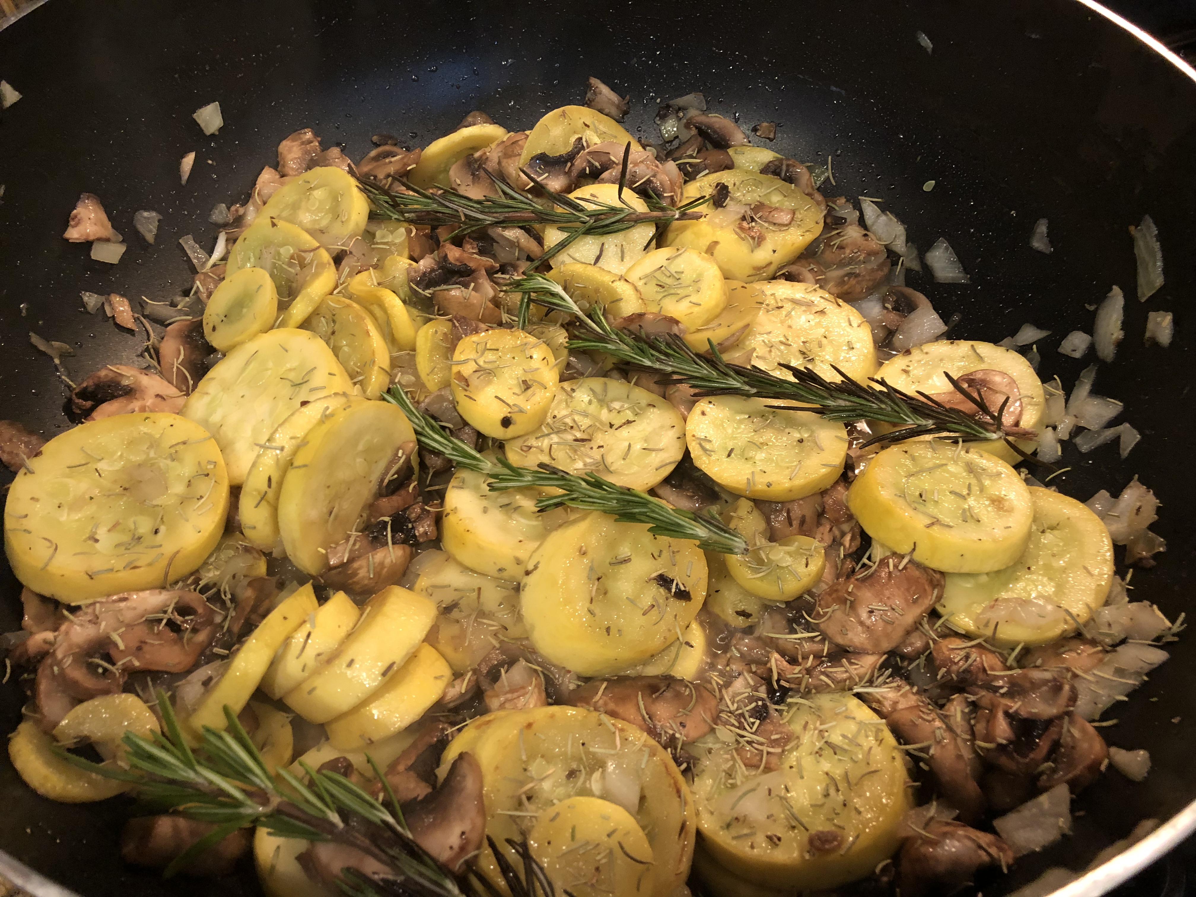 Fried Yellow Squash and Mushrooms