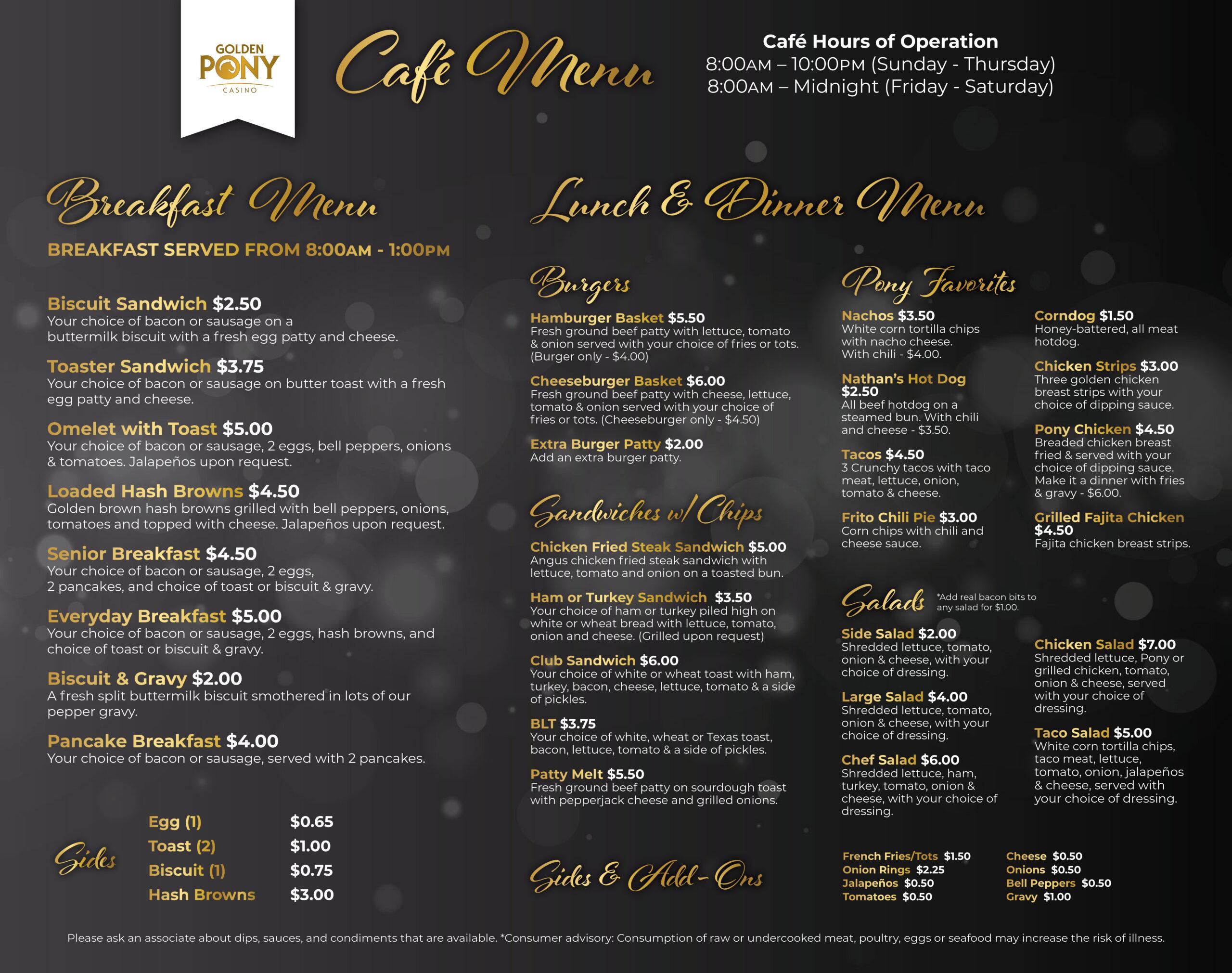 Golden Pony Casino Cafe Menu