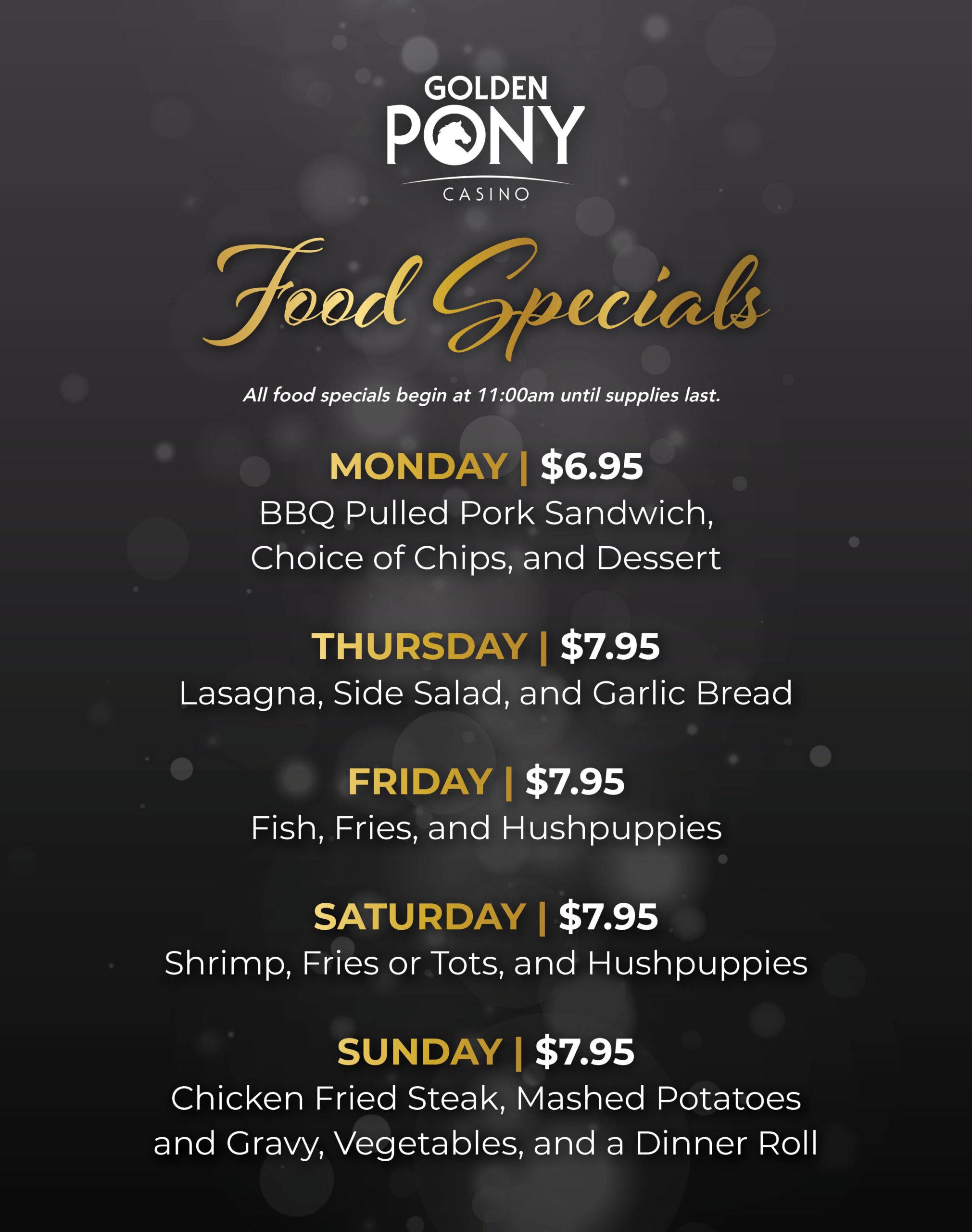 Golden Pony Casino Food Specials