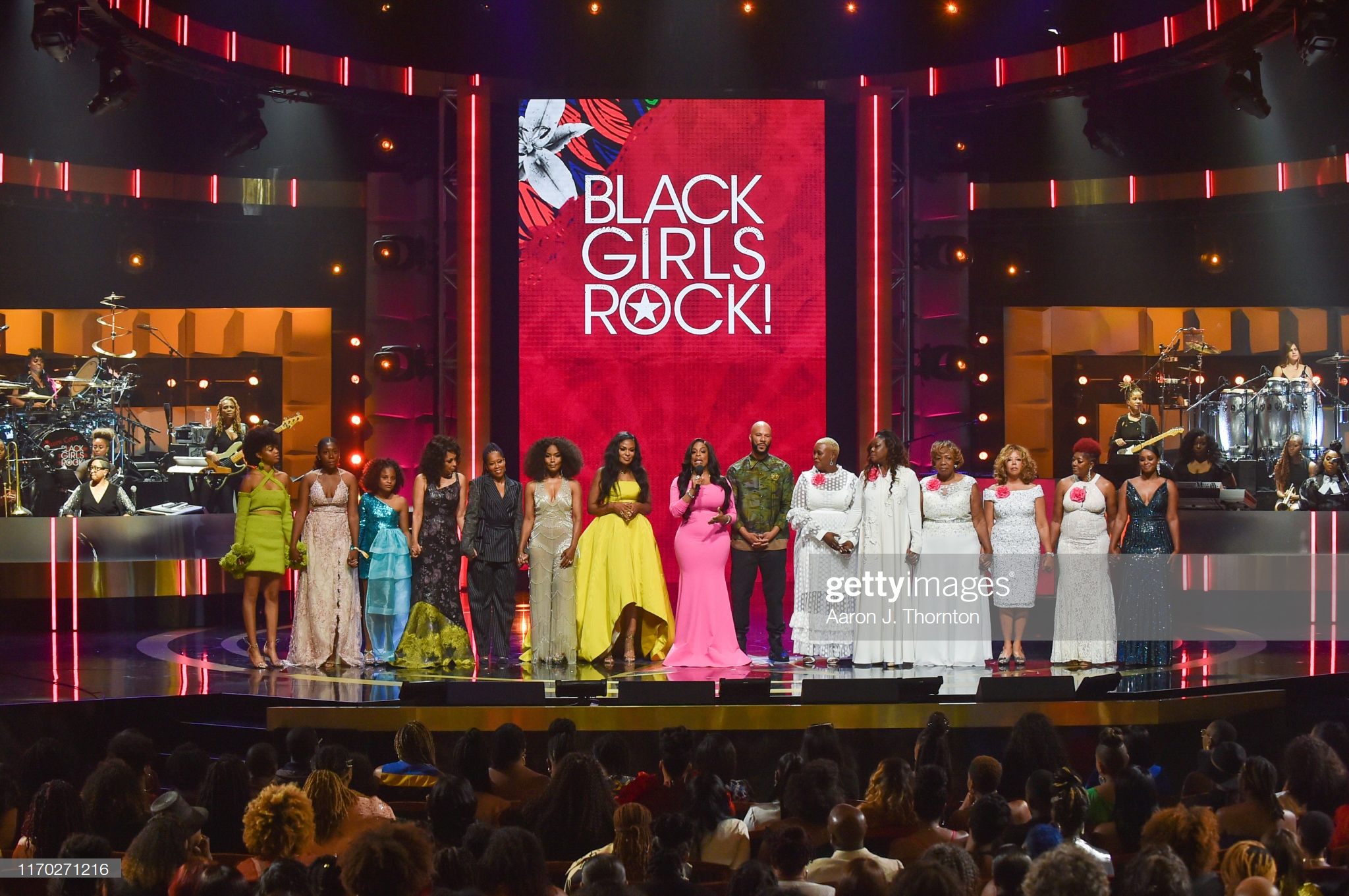 NEWARK, NEW JERSEY - AUGUST 25: Performers and Honorees onstage, including Debra Chase Martin, Regina King, Angela Bassett, Beverly Bond, Niecy Nash and Common at NJ Performing Arts Center on August 25, 2019 in Newark, New Jersey. (Photo by Aaron J. Thornton/WireImage)