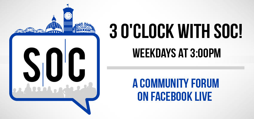 3 o'clock with soc weekdays at 3pm on Facebook Live