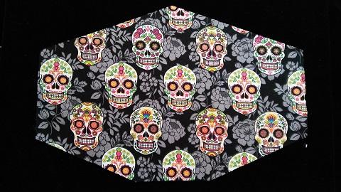 Color Skulls Covid mask by Phoenix Raising Art