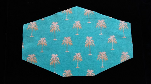 Blue Mask with Palm Trees by Phoenix Raising Art