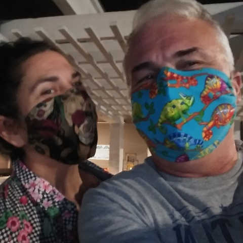 Carmen Uriarte and Wraub wearing Phoenix Raising Art masks
