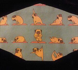 Whimsical Yoga Pugs mask for pug lovers