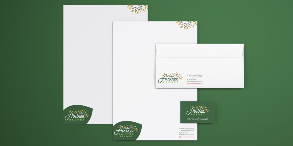 Professionally designed branded stationery fro Airtree Resort