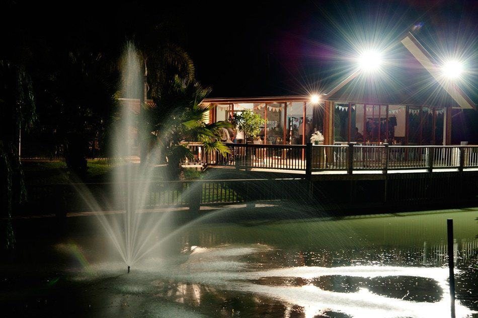 the vines lakehouse at night
