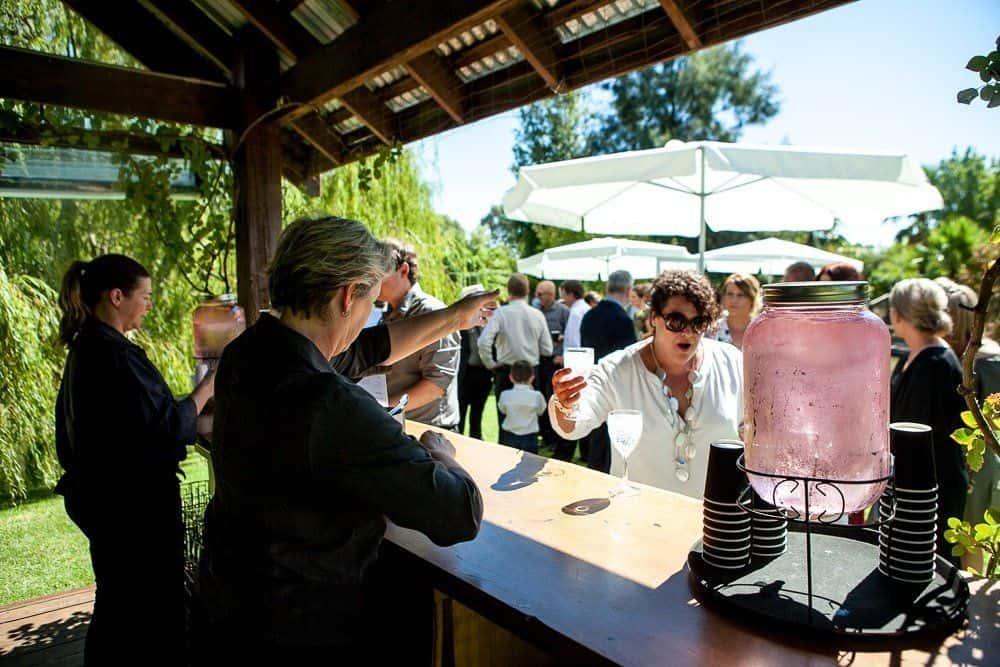 serving drinks at wedding ceremony