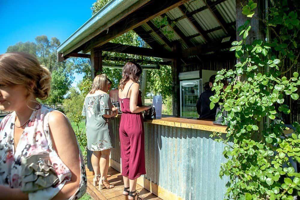 outdoor bar at wedding ceremony