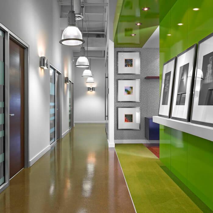 BHD Office Interior Design Edmonton, Corridor Artwork Ledge Concrete