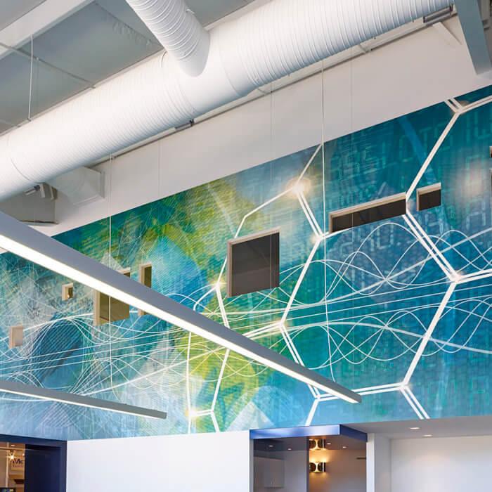 BHD Office Interior Design Edmonton, Custom Wallcovering Instrumentation Lab