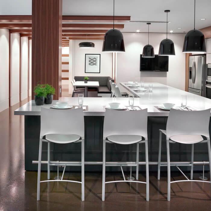 Brookfield Residential Office Interior Design Edmonton, Lunch Room Staff Lounge Island Kitchen