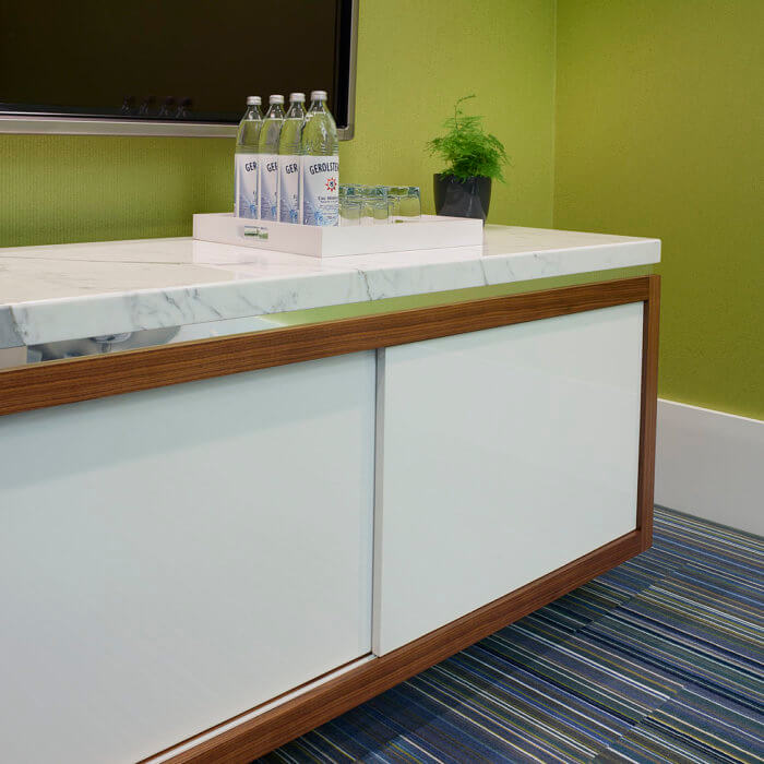 Brookfield Residential Office Interior Design Edmonton, Credenza White Millwrok