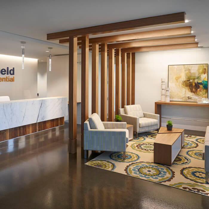 Brookfield Residential Office Interior Design Edmonton, Lobby Reception Sofa Framing
