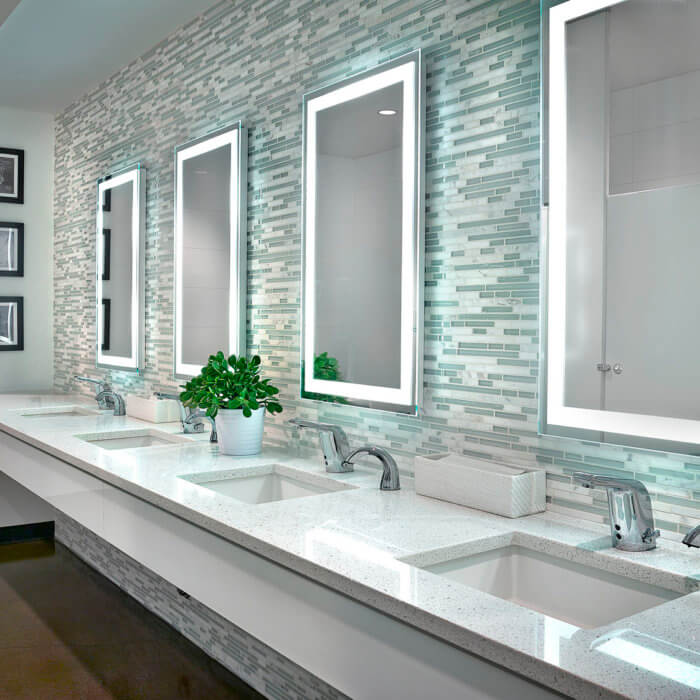 Brookfield Residential Office Interior Design Edmonton Washrooms Lit Mirror Sinks Workplace