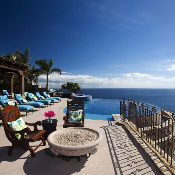 Cabo Resort Interior Design Residence Infinity Pool Mexico Fire Table