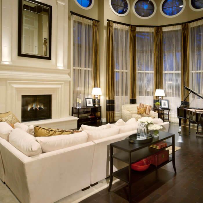 Private Residence Interior Design Living Room White Sofa Hardwood