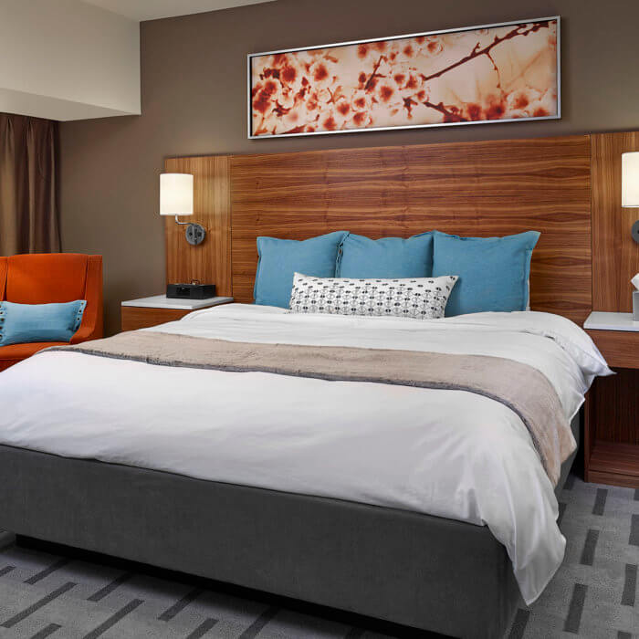 Radisson Calgary Airport Hotel Interior Design Conference Center Guest Room Suite Bed