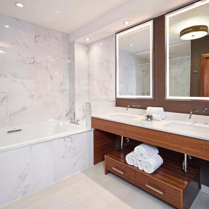 Radisson Calgary Airport Hotel Interior Design Conference Center Washroom Luxury