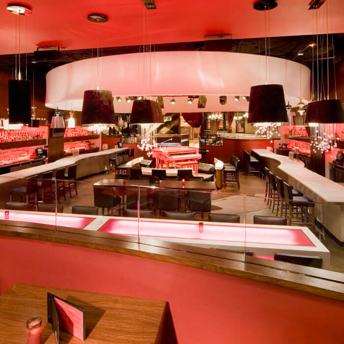 Red Piano Bar, Jennifer Jordan Restaurant Interior Design