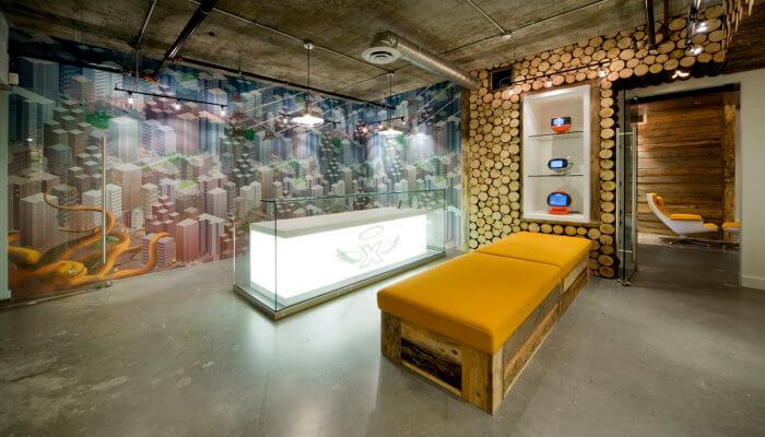 X Gen Office Interior Design, Software Lobby Reception Concrete Vintage