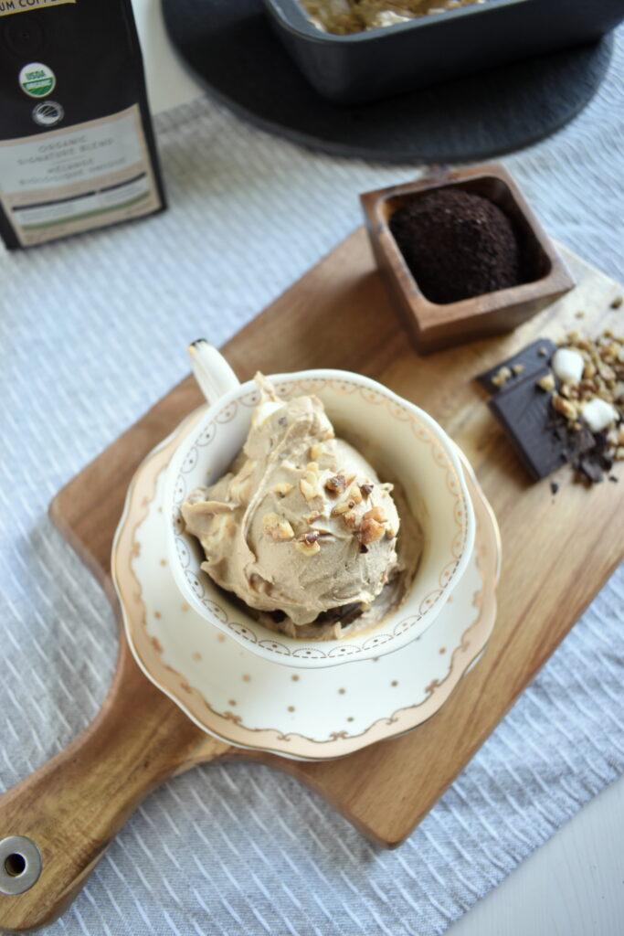 Vegan Coffee Ice Cream with Walnuts and Chocolate